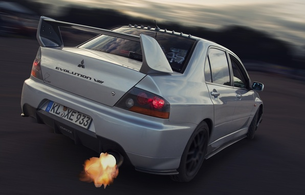 Picture Skid, Exhaust, Mitsubishi, Lancer, Car, Fire, Evolution 8