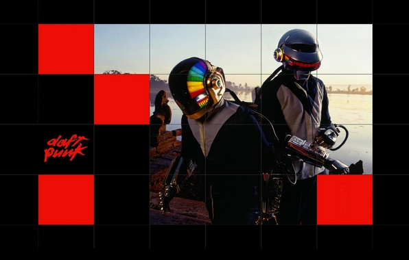 Picture group, squares, music, art, daft punk