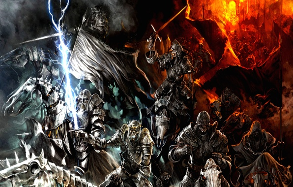 Picture fire, mountains, army, orcs, Lord of the rings