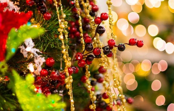 Picture winter, decoration, gold, holiday, toys, tree, spruce, branch, New Year, Christmas, beads, tree, tinsel, Christmas, …