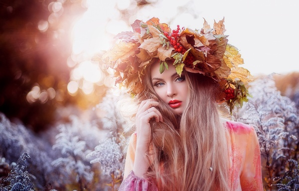 Picture eyes, look, leaves, girl, face, background, hair, red lips