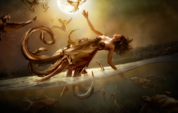 Picture water, girl, fantasy, the moon, art, flight, Diversity