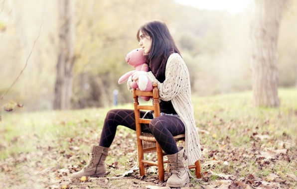 Picture autumn, leaves, girl, trees, nature, background, situation, mood, pink, Wallpaper, shoes, cell, brunette, jacket, widescreen, …