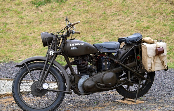 Picture motorcycle, Ariel, British, WW2, W/NG
