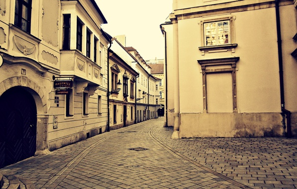 Picture street, Home, The city, Town, Turn, Window, Europe, Wallpaper, Picture, The sidewalk, Slovakia, Bratislava