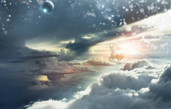 Picture the sky, the sun, horse, planet, Clouds