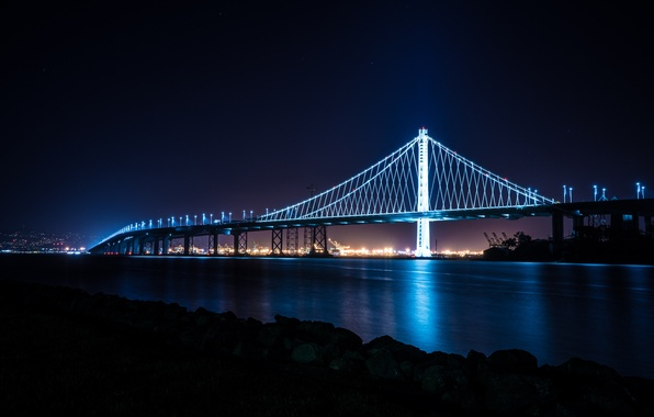 Picture City, Bridge, Skyline, San Francisco, Island, Bay, Architecture, Ligth, Nigth, Treasure