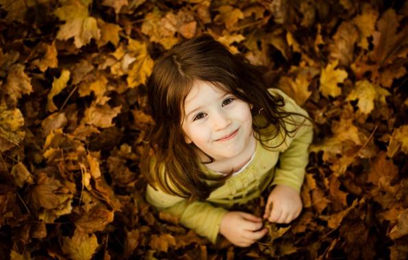 Picture autumn, children, smile, mood, mood, girls, girl, kids, smile