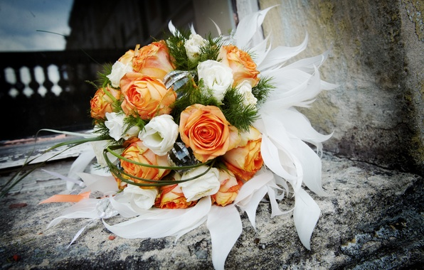 Picture flowers, stones, roses, bouquet, white, orange