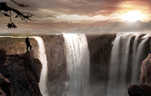 Picture landscape, sunset, mountains, people, art, abyss, waterfalls