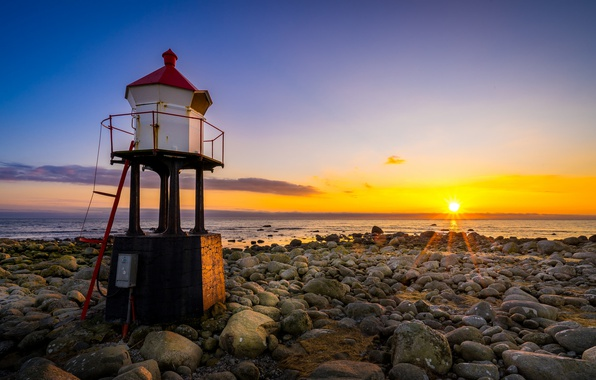 Picture sea, sunset, coast, lighthouse, Norway, Norway, Rogaland, Naerland