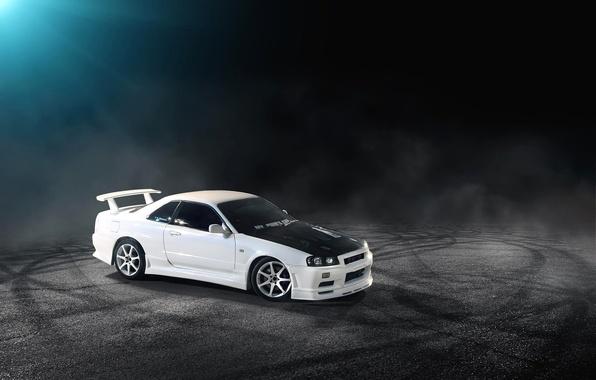 Picture white, Nissan, white, Nissan, Skyline, R34, skyline