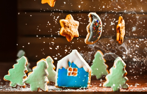 Picture snow, new year, cookies, house, the coconut chip