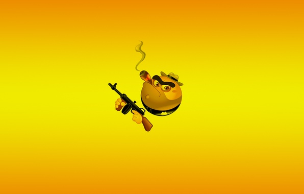 Picture yellow, weapons, minimalism, smile, machine, cigar, smile, gangster