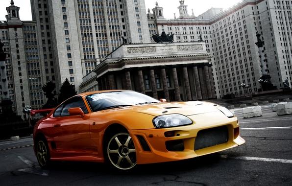 Picture orange, background, tuning, the building, sports car, Toyota, MSU, tuning, Supra, Toyota, Supra, ancestor
