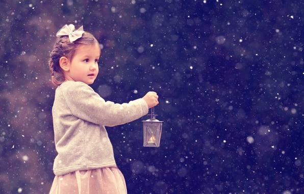 Picture snow, Christmas, girl, lantern