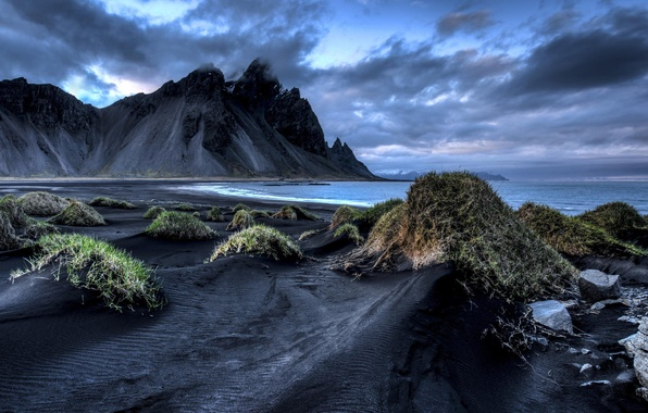 Picture sea, grass, clouds, mountains, shore, Iceland, Iceland, black sand, Vestrahorn, Stockksness
