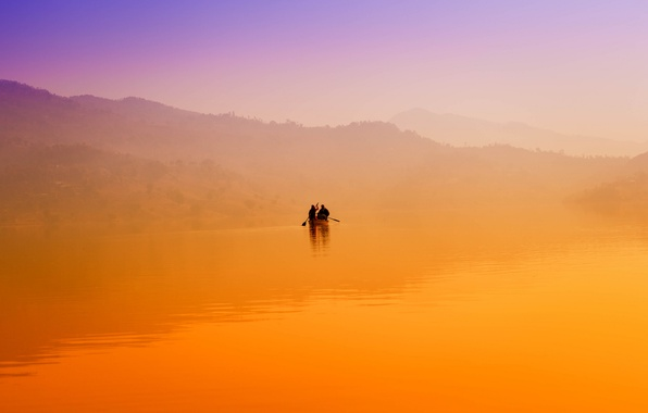Picture fog, lake, dawn, hills, boat, morning