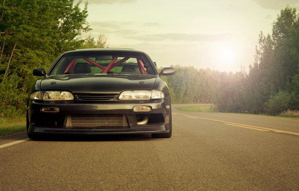 Picture road, nature, lights, Nissan, cars, auto, wallpapers, wallpapers auto, Tuning cars, Wallpaper HD, Nissan s14, …