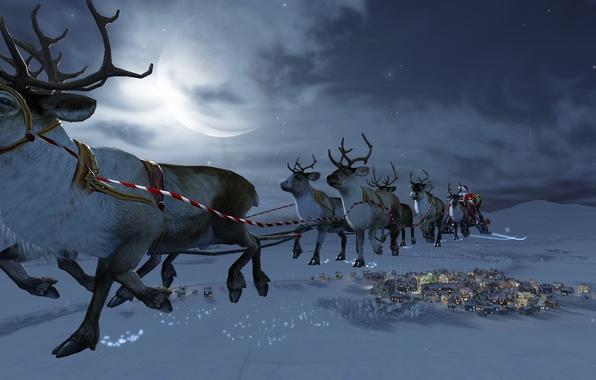 Photo wallpaper magic, snow, winter, moon, Christmas, Santa Claus, deer, Santa Claus, stars, houses, snow, stars, the ...