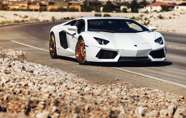 Picture Lamborghini, Power, Front, White, LP700-4, Aventador, Road, Supercar, Wheels, Desert, B-Forged