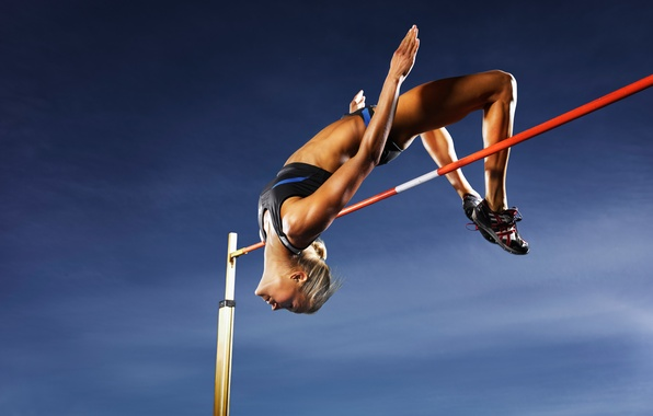 Picture women, athletes, high jump