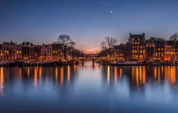 Picture the sky, bridge, the city, lights, the moon, home, the evening, channel, Netherlands, after sunset