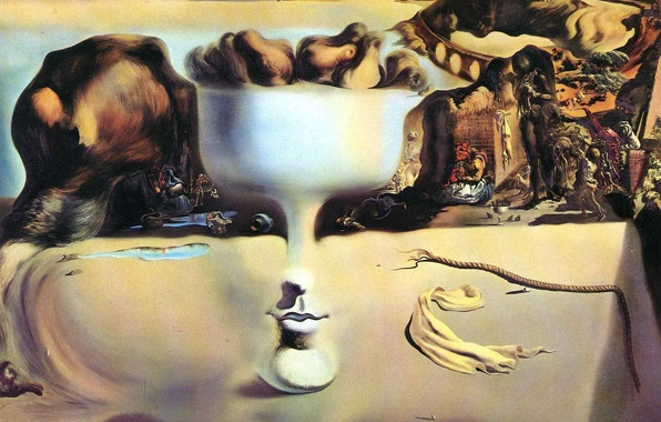 Picture surrealism, picture, salvador dali, Salvador Dali, painter, 1938, the phenomenon of face and fruit bowl …