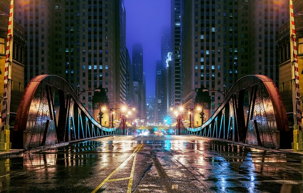 Picture road, water, reflection, night, bridge, the city, lights, street, building, skyscrapers, the evening, Chicago, puddles, …