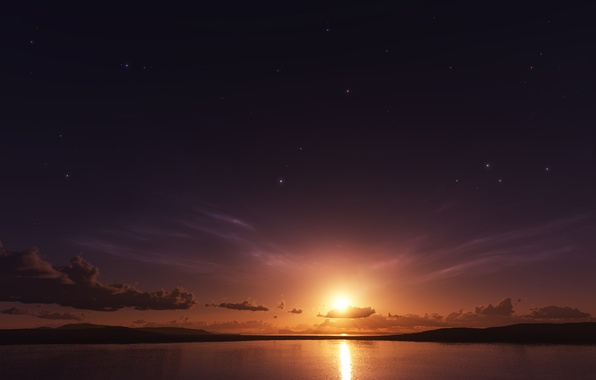 Picture sea, the sun, clouds, photoshop