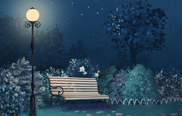 Picture light, bench, night, Park, art, lantern