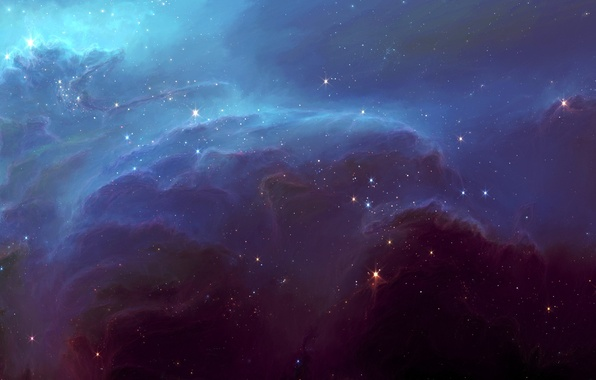 Picture space, stars, clouds, nebula, glow, art, HellsEscapeArtist, TylerCreatesWorlds