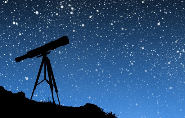 Picture the sky, stars, vector, telescope