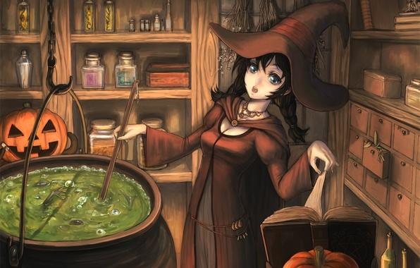 Picture girl, hat, pumpkin, book, witch, halloween, boiler, brew
