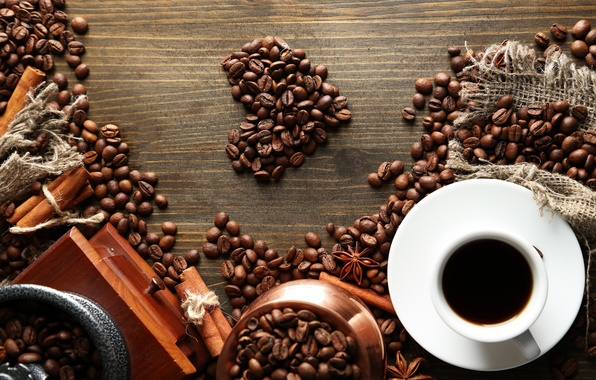 Picture table, heart, coffee, grain, Cup, cinnamon, saucer