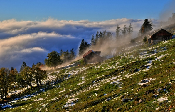 Picture the sky, grass, clouds, trees, mountains, fog, house, stones, Austria, slope, Austria, Salzburg, Ox mountain