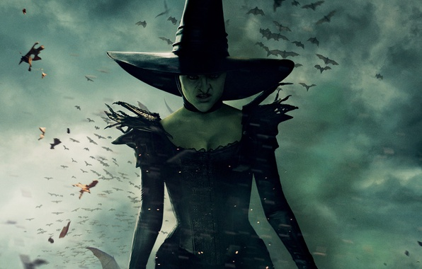 Picture clouds, hat, dress, fantasy, witch, poster, the witch, in black, evil, Oz the Great and …