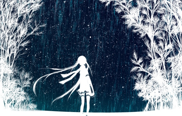 Picture the sky, girl, stars, trees, night, art, vocaloid, hatsune miku, Vocaloid, Hatsune Miku
