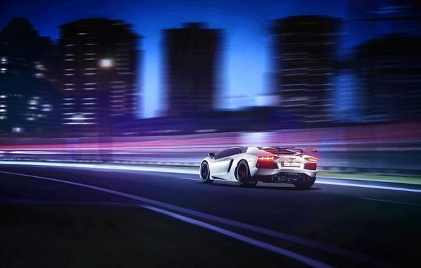 Picture white, the city, Lamborghini, white, skyscrapers, Lamborghini, rear, Aventador, aventador, LP-760-4