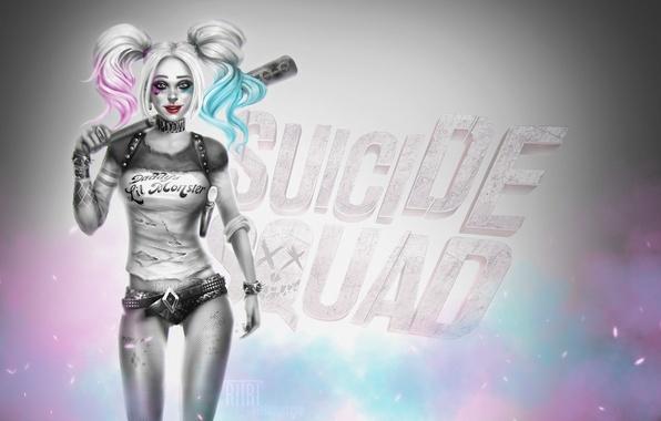 Picture look, girl, smile, hair, beauty, art, bit, harley quinn, DC Comics, Suicide Squad, Suicide squad