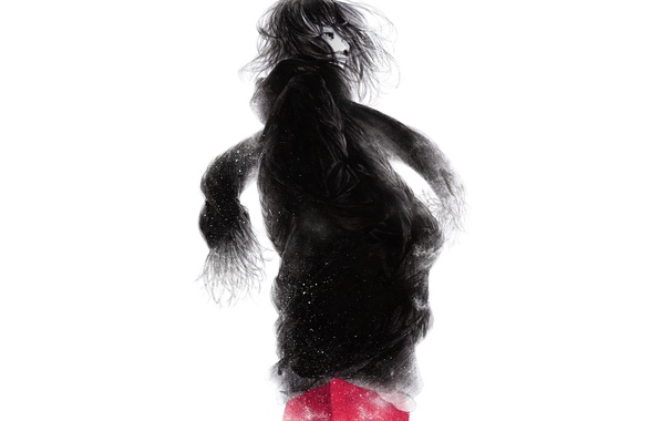 Picture snowflakes, the wind, figure, Girl, scarf, art, Sawasawa