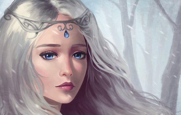 Picture sadness, look, girl, snow, hair, art, decoration, fantasy, blue eyes