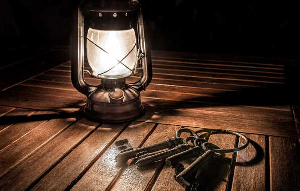 Picture background, lamp, keys