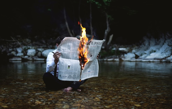 Picture fire, flame, newspaper, guy