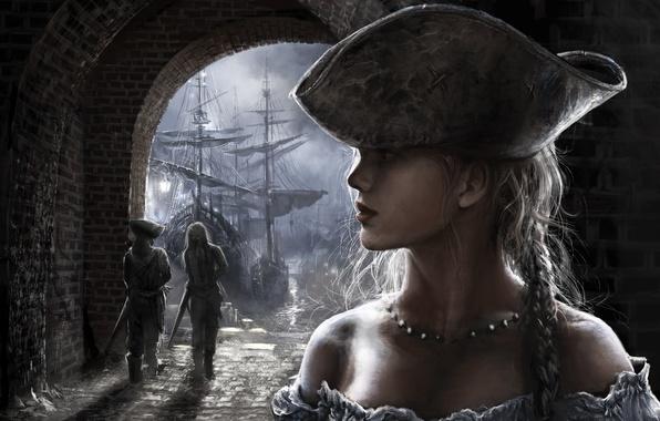 Picture look, girl, face, ship, hat, art, pass, arch, profile, men, swords