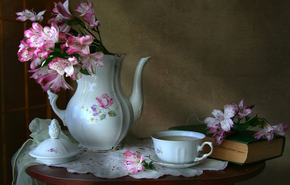 Picture flowers, coffee, texture, dishes, book, still life, vintage, Alstroemeria, coffee pot