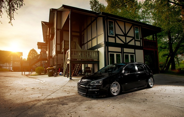Picture house, black, volkswagen, Golf, golf, Black, Volkswagen, stance, MK5