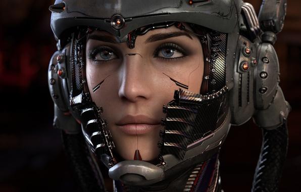 Picture look, girl, fiction, wire, helmet, cyborg, cyberpunk