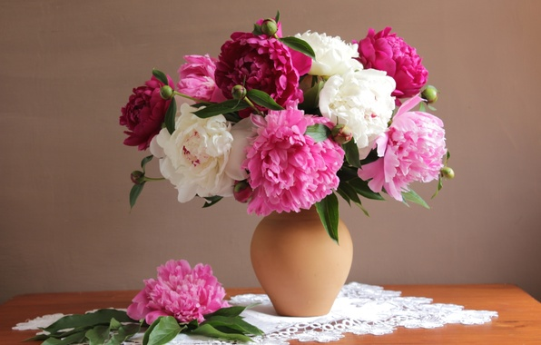Picture bouquet, colorful, peonies