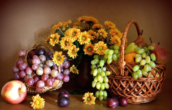 Picture flowers, Apple, grapes, pear, fruit, still life, chrysanthemum, drain